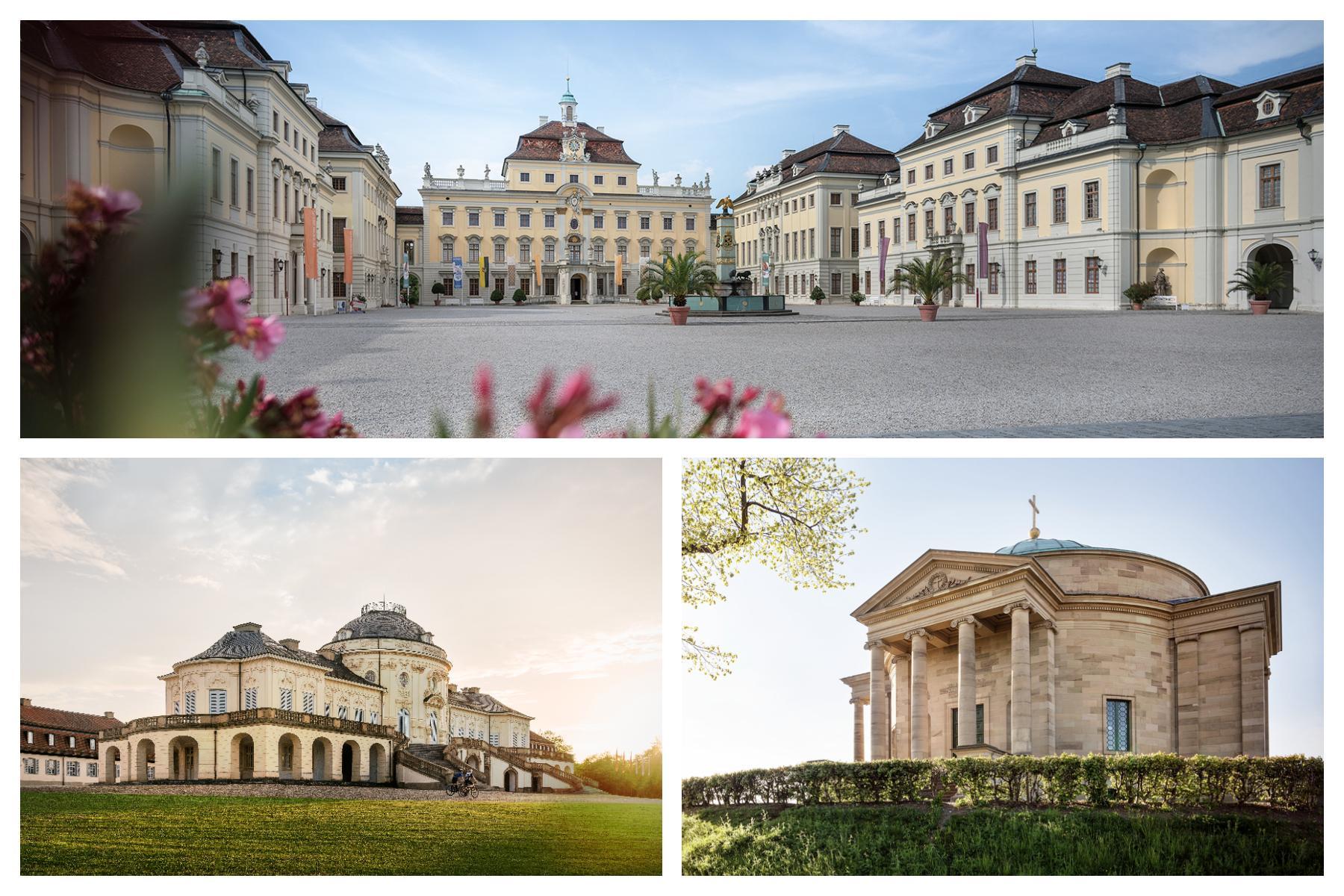 Fotocollage Residenzschloss Ludwigsburg, Schloss Solitude, Grabkapelle auf dem Württemberg
