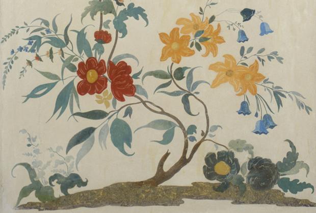Blütenranke im Scagliola-Kabinett, Schloss Solitude, Foto: Staatliche Schlösser und Gärten Baden-Württemberg, Andrea Rachele