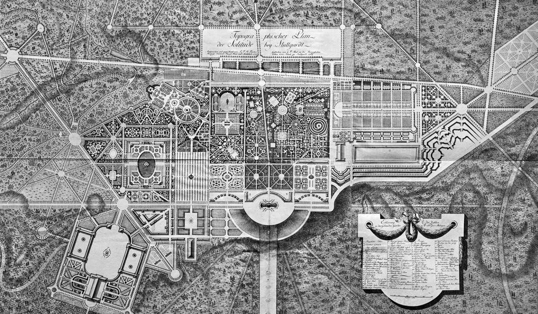 """Schloss Solitude, R. F. H. Fischer """"Topographischer Plan"""", 1784"""