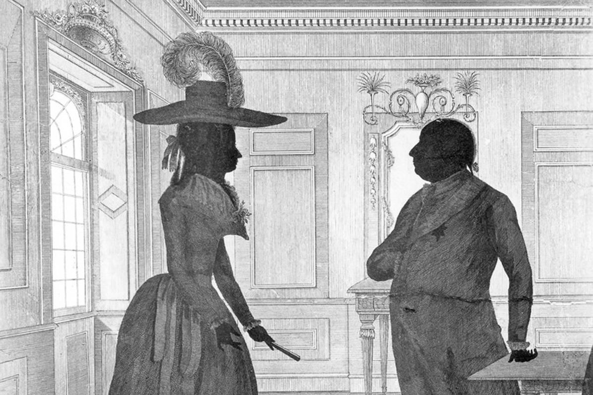 Duke Carl Eugen and Duchess Franziska, silhouette etching from 1787. Image: Landesmedienzentrum Baden-Württemberg, Robert Bothner