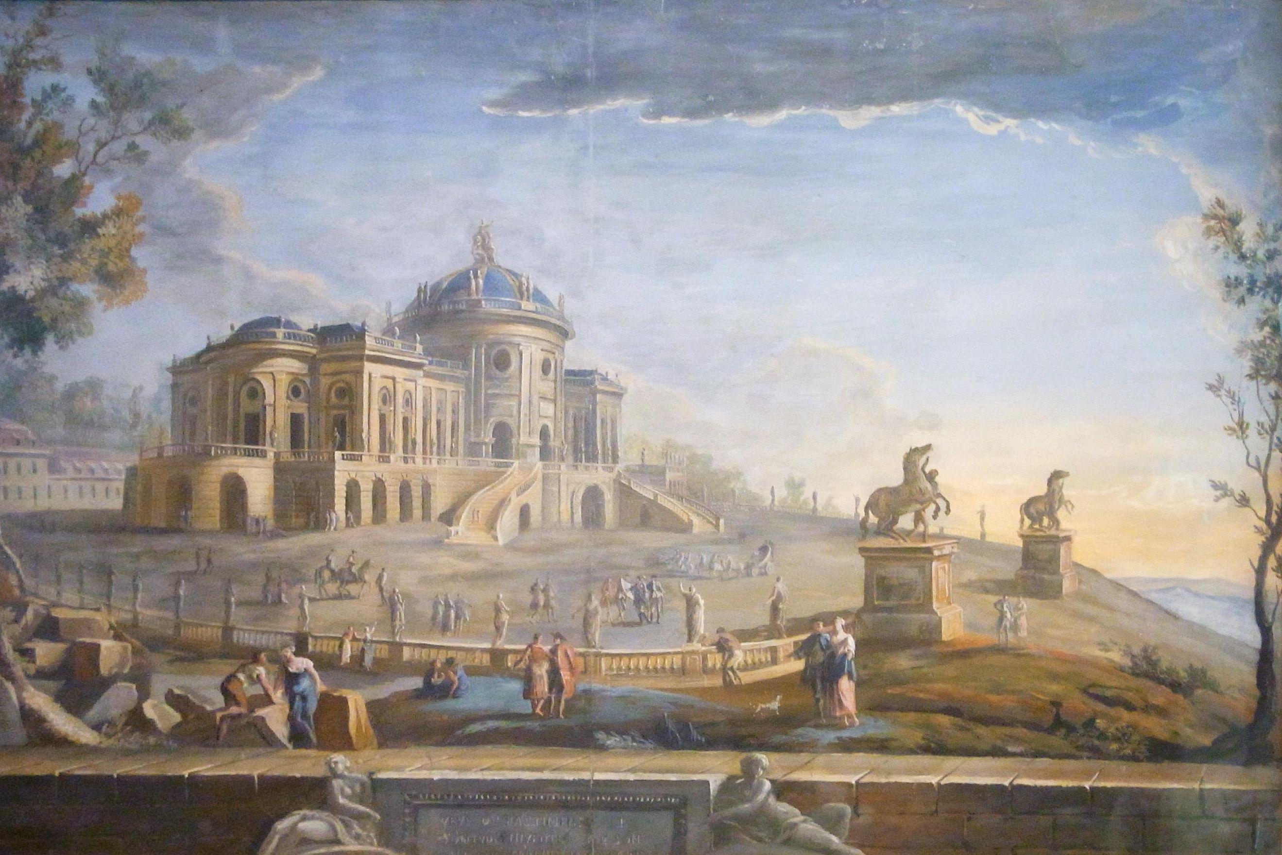 Schloss Solitude, Gemälde von Jean Adrien Claude Servadoni, um 1765