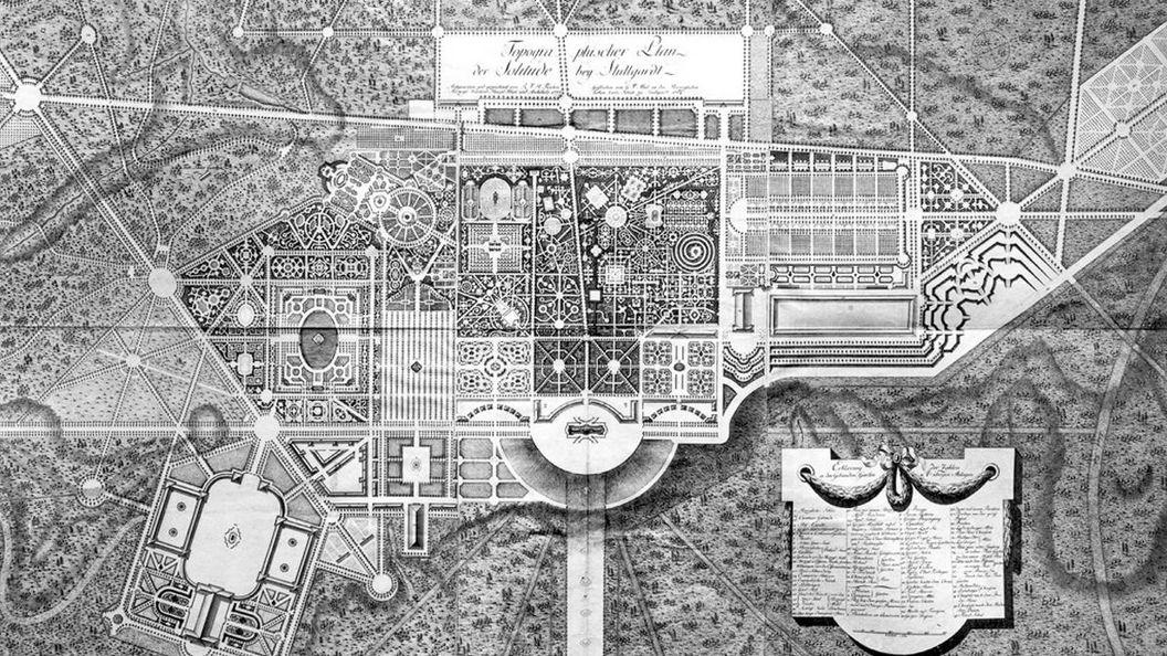 Kupferstich eines topografischen Plans von Schloss Solitude von 1784