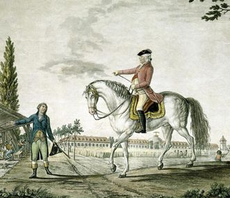 Duke Carl Eugen as a rider in front of Hohenheim Palace, copper engraving, circa 1790. Image: Landesmedienzentrum Baden-Württemberg, Dieter Jäger