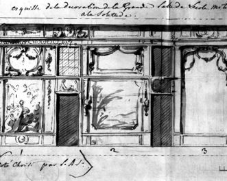 Sketch of the wall decor of the Military Academy's great hall by Nicolas Guibal. Image: Landesmedienzentrum Baden-Württemberg, Robert Bothner