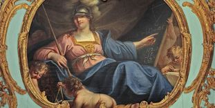 "Overdoor with a depiction of ""Arithmetic"" in the form of Minerva, circa 1775."
