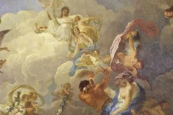 Detail of the ceiling painting in the White Hall depicting the welfare of Württemberg