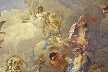 Detail aus dem Deckengemälde im Weißen Saal mit der Darstellung der Wohlfahrt Württembergs