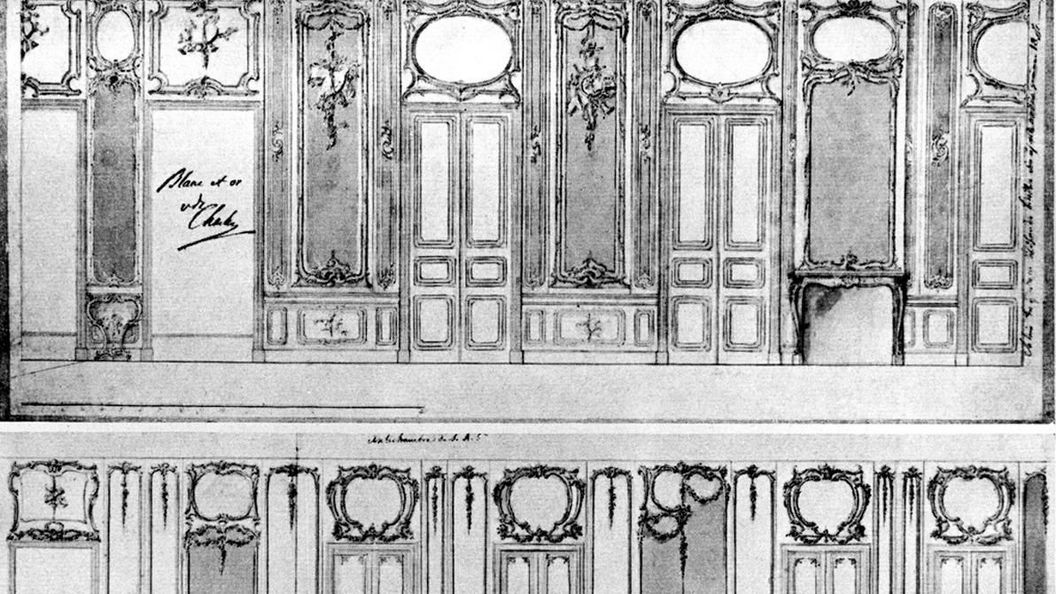 Image: Sketch of wall decor by Philippe de La Guêpière for a room in Solitude Palace