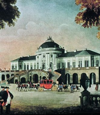 Colored image from Solitude Palace, circa 1770. Image: Landesmedienzentrum Baden-Württemberg, credit unknown