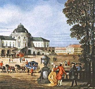 Schloss Solitude, kolorierte Grafik, um 1770