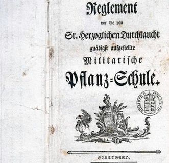 "Title page from ""Reglement vor die von Sr. herzoglichen Durchlaucht gnädigst aufgestellte Militarische Pflanz-Schule"" (""Rule of the Military Academy Created by His Ducal Majesty""), 1770. Image: Landesmedienzentrum Baden-Württemberg, Dieter Jäger"