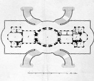 Floor plan of Solitude Palace from 1785, the apartment is to the right of the oval White Hall. Image: Landesmedienzentrum Baden-Württemberg, credit unknown