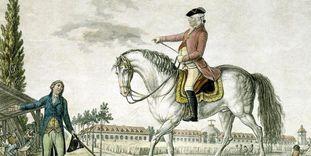 Darstellung von Herzog Carl Eugen zu Pferd