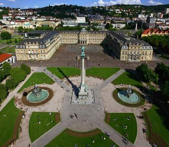 Aerial view of the New Palace in Stuttgart. Image: Staatliche Schlösser und Gärten Baden-Württemberg, Achim Mende
