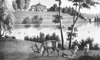 Copper engraving of the red deer park at the little Bear Palace in Stuttgart from 1840. Image: Landesmedienzentrum Baden-Württemberg, Dieter Jäger