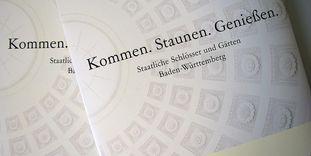 Detail einer Pressemappe der Staatlichen Schlösser und Gärten Baden-Württemberg.